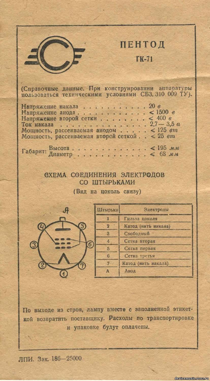 ГУ-50 - Радиолампы - Пентоды и Тетроды выходные ...
